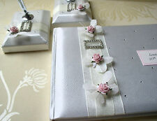 Wedding Guest Book & Matching Pen Set with Butterflies & Roses - White or Ivory