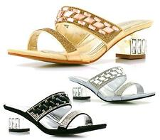 LADIES LOW HEEL DIAMANTE SLIP ON BRIDAL WEDDING PROM EVENING SANDALS SHOES