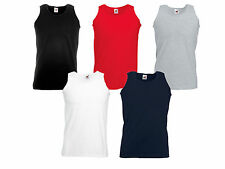 New Mens Fruit of the Loom Cotton Plain Athletic Vest Tee Summer Pack 3