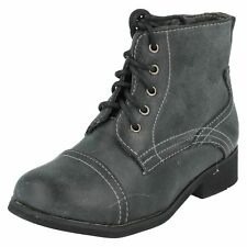 SALE GIRLS H4063 MILITARY STYLE BOOTS  BY SPOT ON Retail Price £9.99