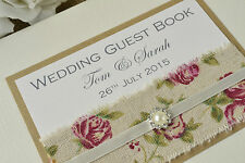 Rose Printed Hessian Ribbon and Vintage Jewel Design - Wedding Guest Book