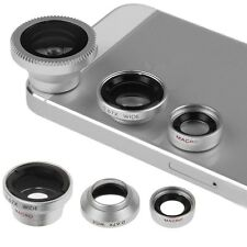 3 in 1 CAMERA LENS KIT WIDE ANGLE MICRO FISH EYE LENS for iPHONE 4 5S 6 Samsung
