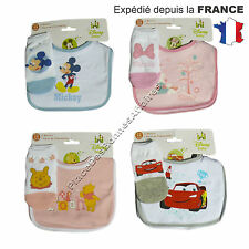 Bavoir Bébé DISNEY Winnie l'Ourson, Minnie, Mickey ou Cars en Velcro !!