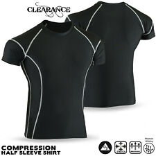 Mens Compression Armour Base Layer Shorts Sleeve Shirt Multi Sports All Season