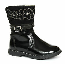 Startrite Glossy Infant Girls Black Patent Leather & Suede Embellished Zip Boots