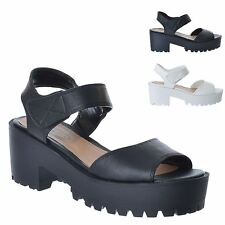 LADIES WOMENS NEW CHUNKY MID HEEL STRAPPY PLATFORM OPEN TOE VELCRO SANDALS SHOES