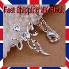 "Ladies 925 Silver Cross Necklace Crystal Twisted Sparkly 18"" Free Gift Bag"