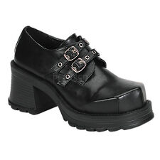 DEMONIA TRUMP-101  Goth Punk Lolita Cosplay Mary Jane Black Shoes 2 BUCKLE