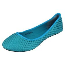 Ladies F8766 Blue weave Effect slip on Dolly shoes  by SPOT ON  £4.99