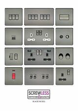 Black Nickel Screwless Switches and Sockets Full Range Black Inserts