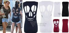 Womens Skull Face Cut Out Back T Shirt Vest Top Open Skeleton Emo Gothic Loose