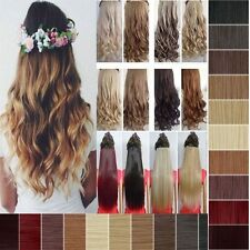 Real Cheap Long Straight Curly Wavy Half Full Head Clip In Hair Extensions UK