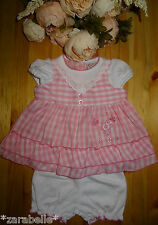 Baby Girl White Pink Gingham Flower Embroidered Dress & Bloomers Set, 0-3-6-9mth