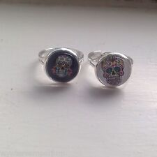 Mexican Day Of The Dead Ring Silver Plated Rockabilly Sugar Skull