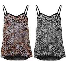Womens Strappy Semi Sheer Cut Out Low Back Flare Baggy Leopard Vest Top