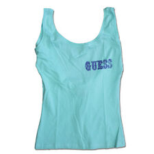 Womens GUESS Mint green vest top with logo to chest cotton vest UO2E20