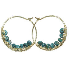 Handmade Hammered Hoop Earrings Turquoise 14K Yellow Rose Gold Filled Sterling