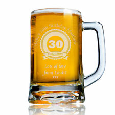 Personalised Engraved Beer Pint Glass Tankard 30th 40th 50th Birthday Gift Boxed