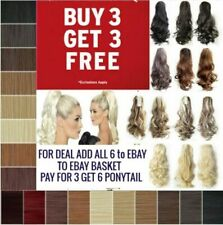Lady Clip In Ponytail Pony Tail Hair Extension Claw On Hair Piece curly wavy