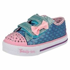 Infant Girls Skechers Twinkle Toes Shuffles-Sweet Steps Sparkle Fabric Trainers