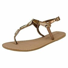 Leather Collection f0897 Tira Al Dedo Mujer Sandalia Bronce Cuero (34a) ( Kett )