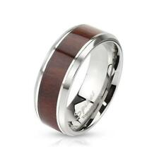 coolbodyart AF ACERO inox. Unisex Anillo Plata 6mm ANCHO CON MADERA inlay