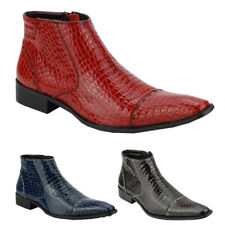Mens Red Blue Leather Snakeskin Effect Hi Shine Zip Ankle Boots Pointy MOD Shoes