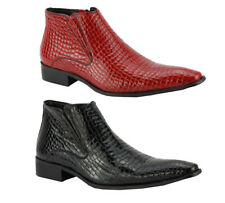 Mens Red Black Leather Snakeskin Effect Hi Shine Zip Ankle Boots Pointy Shoes
