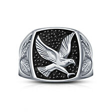 Platinum Plated Sterling Silver 925 CZ Beach Jewellery Eagle Ring For Men's 9 10