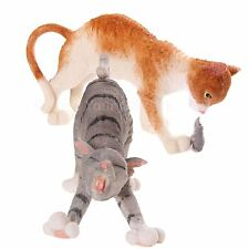 Cat Figurine Ornament Tabby Stretching or Ginger Playing With Mouse Cats Figures