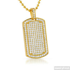 925 Silver Small Iced Out Gold Dogtag Pendant Chain