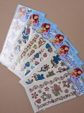 0215 Coloured glitter temporary Tattoos in 6 assorted designs Clubbing Holiday