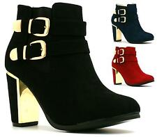 WOMENS LADIES MID HIGH HEEL BLOCK BUCKLE LOW ANKLE CHELSEA BOOTS SHOES SIZE