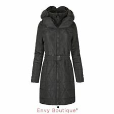 NEW WOMENS LADIES QUILTED PUFFER PADDED BELTED LONG WARM DOWN PARKA JACKET 8-16