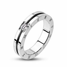 Mens Ladies Ring Silver Roman Numerals Zirconia NEW Jewelry by allforyou