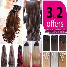 UK post Clip In Ponytail & Hair extensions Curly Straight Wavy Claw Pony Tail