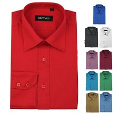 Mens Cotton Rich Long Sleeves Button Collars Formal Casual Work Slim Fit Shirt