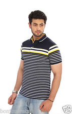 Bongio Mens Striped Polo Neck T-Shirt_RMS5A2007B
