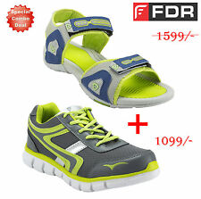 Combo Deal Fudron Mens Sports Shoes Grey & Green + Floaters Blue & Green Free