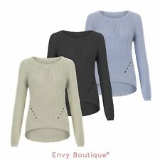 WOMENS LADIES RIBBED KNIT JUMPER RIB HOLE KNITTED CURVED HEM SWEATER PULLOVER