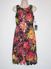 NWT MSRP $200, ADRIANNA PAPELL Sleeveless Floral Lace Cocktail Dress, Multicolor