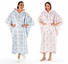 New Ladies Womens HOODED PONCHOS Gown ONE SIZE  fits 10 - 18 Pink or Aqua LN0320