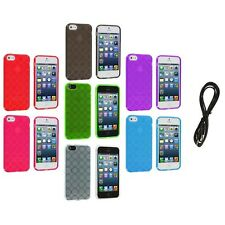 Color Circles TPU Rubber Jelly Skin Case Cover+6FT Aux for iPhone 5 5G