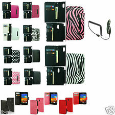 Car Charger+PU Wallet Pouch Case Cover For Samsung Galaxy S2 S II SCH-R760 R760X