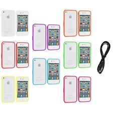 Bumper TPU Solid Jelly Color Rubber Skin Case+6FT Aux for iPhone 4 4S