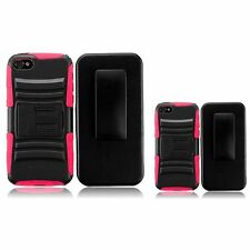 Color Side Hybrid Hard Stand Case Cover+Belt Clip Holster For Apple Iphone 4GS
