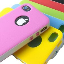 For Apple iPhone 4 4G 4S Hybrid Slim TPU+ABS Hard Shell Bumper Back Cover Case