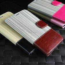 For Samsung Galaxy Note 4 Wood Bamboo Texture Hybrid PU Leather Wallet Flip Case