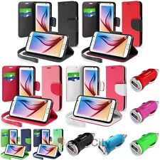 Leather Stand Wallet Case+Mini Car Charger Adapter For Samsung Galaxy