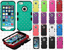 For Apple iPhone 5 5S HYBRID IMPACT TUFF Diamond Case Phone Cover Accessory